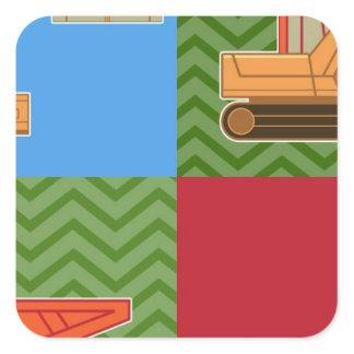 Transportation Heavy Equipment - Collage Square Sticker