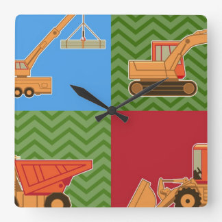 Transportation Heavy Equipment - Collage Square Wall Clock