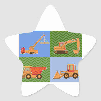 Transportation Heavy Equipment - Collage Star Sticker
