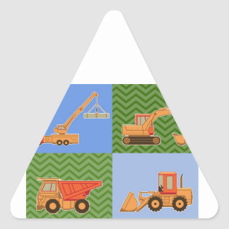 Transportation Heavy Equipment - Collage Triangle Sticker