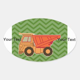 Transportation Heavy Equipment Dump Truck Oval Sticker