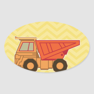 Transportation Heavy Equipment Dump Truck Oval Stickers