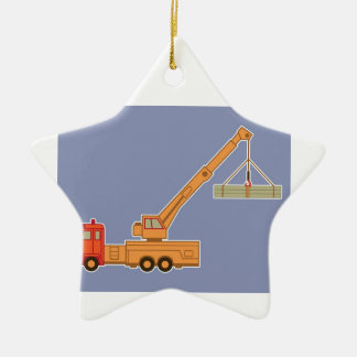 Transportation Heavy Equipment Orange Crane – Blue Ceramic Ornament