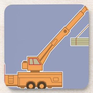 Transportation Heavy Equipment Orange Crane – Blue Beverage Coasters