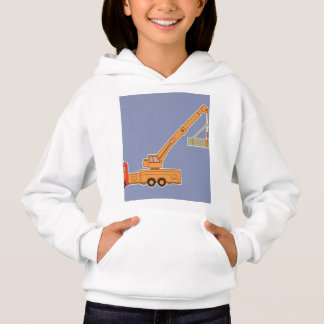 Transportation Heavy Equipment Orange Crane – Blue Hoodie