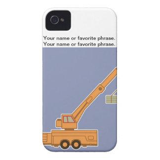Transportation Heavy Equipment Orange Crane – Blue iPhone 4 Case