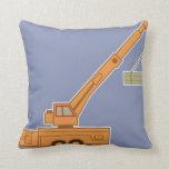 Transportation Heavy Equipment Orange Crane – Blue Throw Pillow