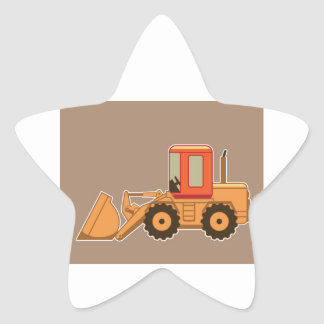 Transportation Heavy Equipment Payloader – Brown Star Sticker