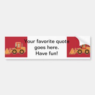 Transportation Heavy Equipment Payloader - Red Bumper Sticker