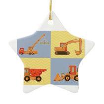 Transportation Heavy Equipments -Plain and Chevron Ceramic Ornament