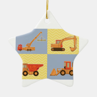 Transportation Heavy Equipments -Plain and Chevron Double-Sided Star Ceramic Christmas Ornament