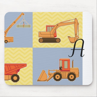 Transportation Heavy Equipments -Plain and Chevron Mouse Pads