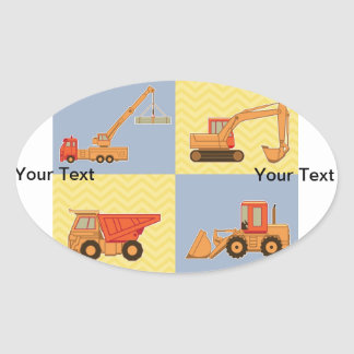 Transportation Heavy Equipments -Plain and Chevron Oval Sticker