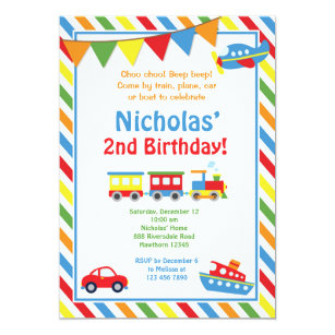 Transportation Invitation Train Birthday Invite