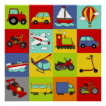 Transportation Mosaic Poster