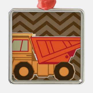 Transportation orange dump truck - brown metal ornament