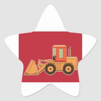 Transportation Payloader on red background. Star Sticker