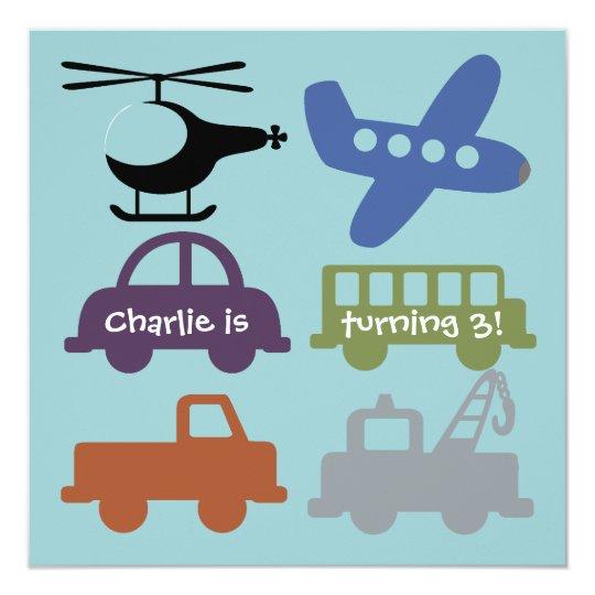Transportation Vehicles Custom Birthday Invite