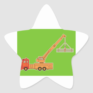 Transportation Yellow Crane - Green Star Sticker