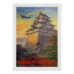 Transporte aéreo japonés con el templo impresiones