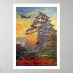 Transporte aéreo japonés con el templo póster