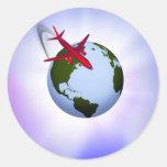 Transporte aéreo pegatina redonda