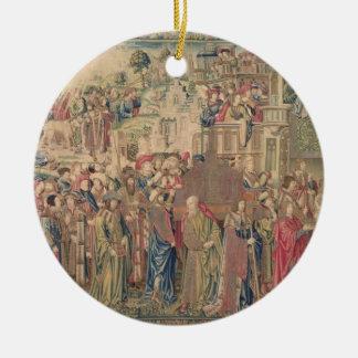 Transporte de la Arca de la Alianza, Tapestr Adorno Navideño Redondo De Cerámica