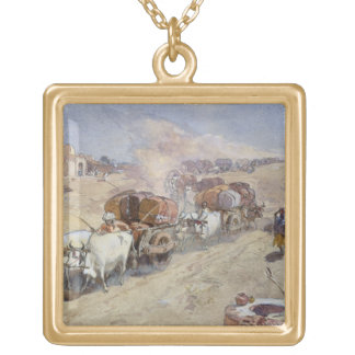 Transporte del algodón, la India, 1862 (w/c sobre  Colgante Personalizado