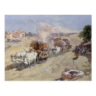 Transporte del algodón, la India, 1862 (w/c sobre Postal
