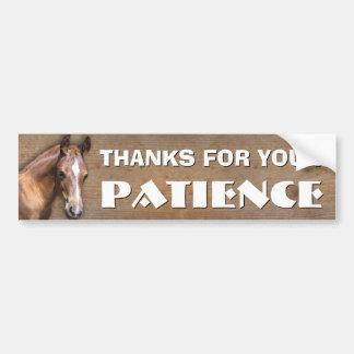 Transporte del caballo: Gracias por su paciencia Pegatina Para Auto