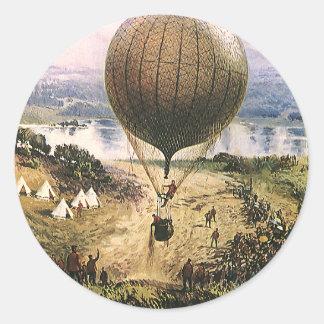 Transporte del vintage, dirigibles del globo del pegatina redonda