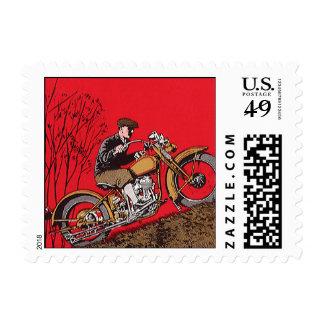 Transporte del vintage, motocicleta antigua estampilla
