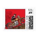 Transporte del vintage, motocicleta roja antigua