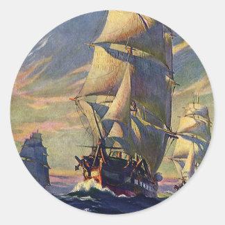 Transporte del vintage, naves de podadoras en el pegatina redonda