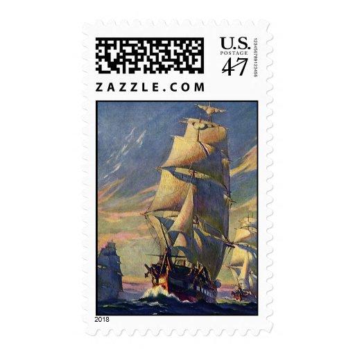 Transporte del vintage, naves de podadoras en el sellos