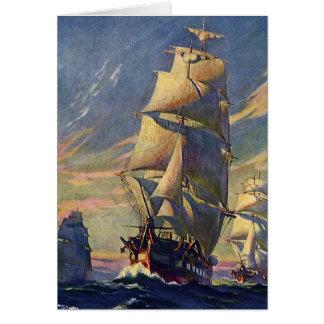 Transporte del vintage, naves de podadoras en el tarjeta pequeña
