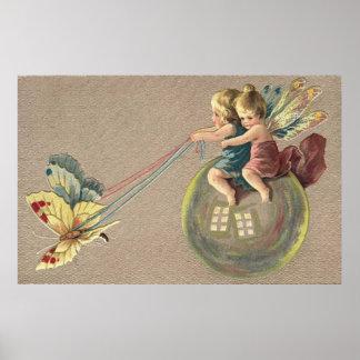Transporte mágico de la burbuja para las hadas póster