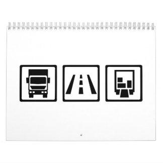 Transporte por carretera del camionero calendarios