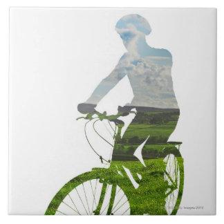 transporte verde, respetuoso del medio ambiente azulejo cuadrado grande