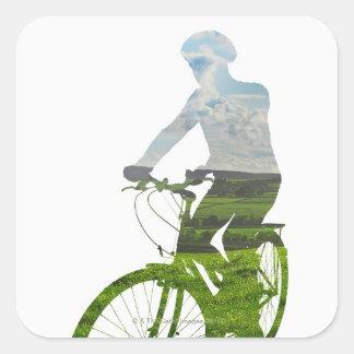 transporte verde, respetuoso del medio ambiente pegatina cuadrada