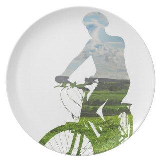 transporte verde, respetuoso del medio ambiente platos