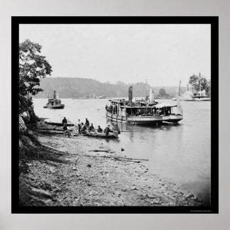 Transporte y monitor en James River 1864 Impresiones
