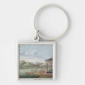 Transporting crates of tea (w/c on paper) keychain