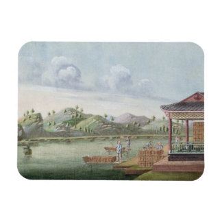 Transporting crates of tea (w/c on paper) magnet