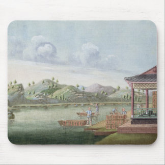 Transporting crates of tea (w/c on paper) mouse pad