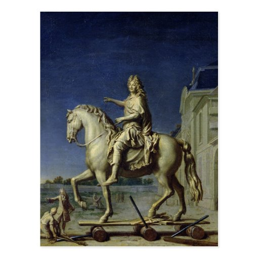 Transporting the Equestrian Statue of Louis Post Card