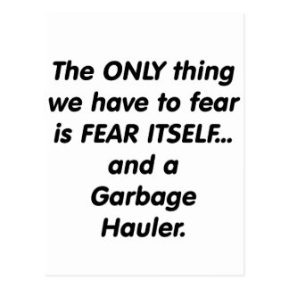 Transportista de la basura del miedo postales