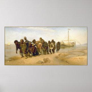 Transportistas de la gabarra en el Volga por Ilya Póster