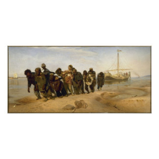 Transportistas de la gabarra en el Volga Póster