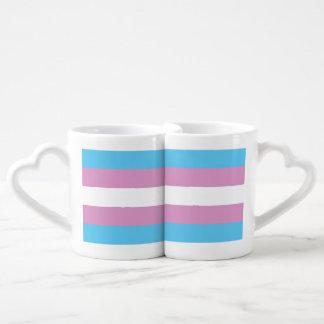 TRANSSEXUAL PRIDE STRIPES DESIGN - 2014 PRIDE.png Couples' Coffee Mug Set
